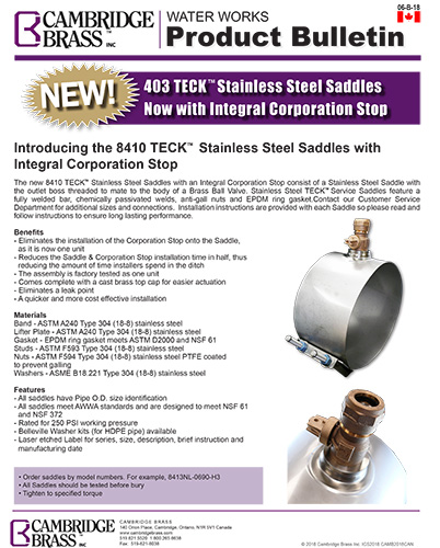 403 Teck™ Stainless Steel Saddle with Integral Corporation Stop