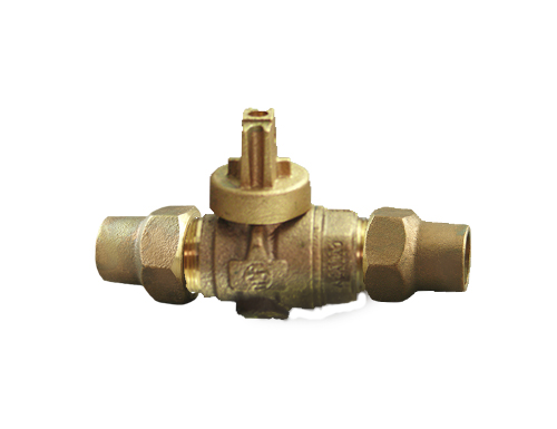 NO-LEAD CF X CF FULL PORT BALL VALVE CURBSTOP WITH DRAIN