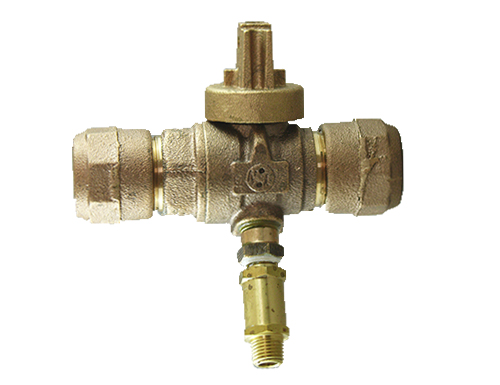 NO-LEAD CB COMPRESSION X CB COMPRESSION FULL PORT BALL VALVE CURBSTOP with WASTE DRAIN