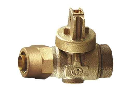 NO-LEAD KITEC X FIP FULL PORT BALL VALVE CURBSTOP WITH DRAIN