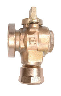 NO-LEAD CB COMPRESSION X METER FLANGE FULL PORT ANGLE METERVALVE WITH LOCK