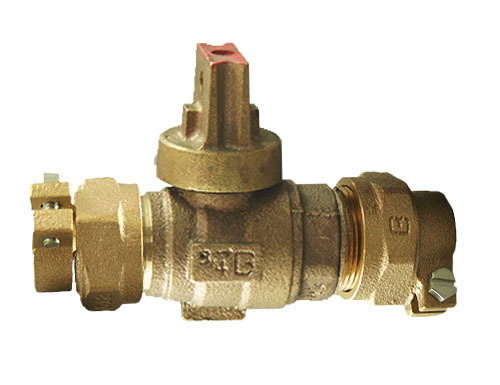 NO-LEAD CAMPAK X CAMPAK OPEN RIGHT BALL VALVE CURBSTOP WITH DRAIN