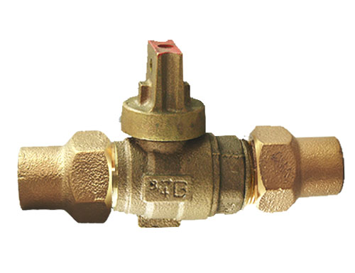 NO-LEAD CF X CF OPEN RIGHT BALL VALVE CURBSTOP WITH DRAIN