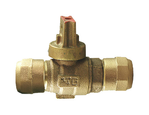 NO-LEAD CB COMPRESSION X CB COMPRESSION OPEN RIGHT BALL VALVE CURBSTOP WITH DRAIN