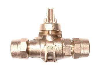 NO-LEAD CB COMPRESSION X CB COMPRESSION MINNEAPOLIS BALL VALVE CURBSTOP WITH DRAIN