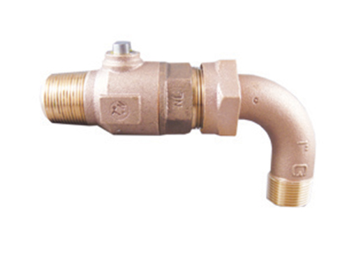 NO-LEAD AWWA X MIP BALL VALVE CORP with 90 DEGREE ELBOW